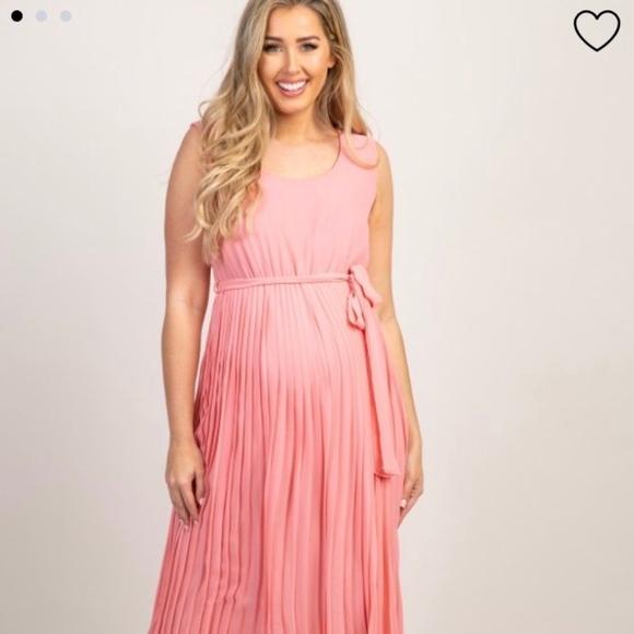 db2b5db05a Pinkblush Dresses | Pink Pleated Chiffon Maternity Dress | Poshmark